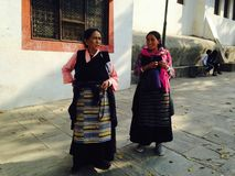 Nepalese women in traditional colorful clothes. stock images