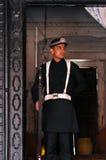 Nepalesisk guard framme av den kungliga slotten arkivfoton