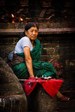 Nepalesisk kvinna, Durbar fyrkant, Katmandu, Nepal Royaltyfria Bilder