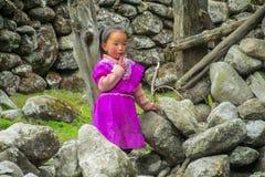 Nepalesisk liten flicka i den Nepal byn arkivbild