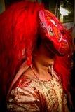 Nepalesisk man som kläs som Kumarien, Durbar fyrkant, Katmandu, Ne Royaltyfria Bilder