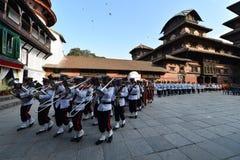 Nepalesiska armémusiker Royaltyfria Bilder