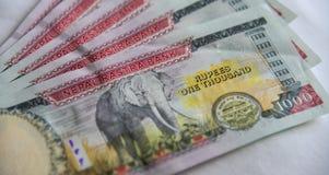 Nepalesiska sedlar 1000 rupier Royaltyfria Bilder