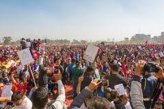 Nepalesiskt folkdeltagande på den Guinness världsrekordhändelsen 2018 royaltyfri fotografi