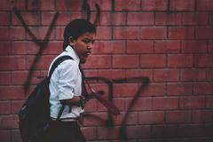 Nepali Boys Going to School Wear Uniform and Red Tie at Thamel S. Treet Editorial Stock Images