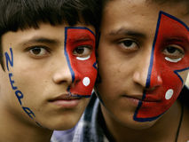 Nepali Boys with tattoo in the face Royalty Free Stock Photos