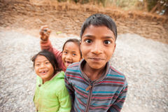 Nepali children mugging for the camera Royalty Free Stock Photos