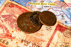 Nepali coins and banknotes. stock photos
