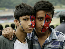 Nepali Fans in Nepal vs Hongkong Cricket match Royalty Free Stock Image