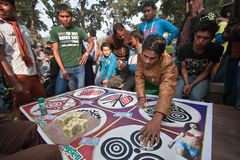 Nepali gambling during Maggy fair in Bardia Stock Image