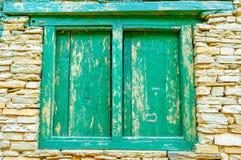 Nepali green window Stock Image