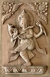 Nepali hand carved wood panel with traditional design Stock Photography