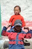 Nepali kids along the Everest trail Stock Photos