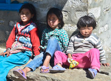 Nepali kids along the Everest trail Royalty Free Stock Image