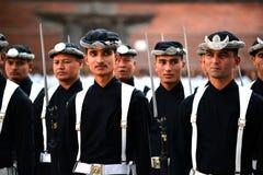 Nepali Koninklijk Leger in Katmandu stock afbeelding