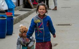 Nepali little girl living in a village with her brother Stock Image