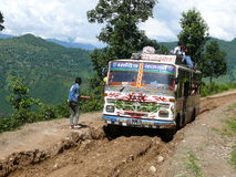 The Nepali local bus. Nepali bus on its way to Arughat Bazar Royalty Free Stock Photography