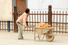 Nepali man carries bricks in a wheelbarrow in Kathmandu, Nepal o Royalty Free Stock Image
