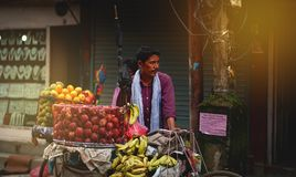 Nepali Man Selling Fruits by Bicycle at Thamel Street. Editorial Royalty Free Stock Image