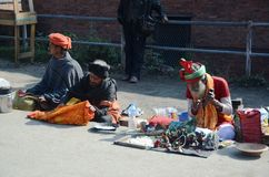 Nepali man selling souvenirs royalty free stock photo