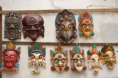 Nepali masks on display in the markets Royalty Free Stock Photos