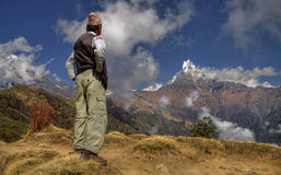 Nepali men and mount machapuchare Royalty Free Stock Image