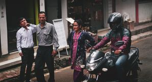Nepali Office Workers Passing Thamel Street stock photography