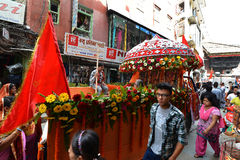 Nepali people celebrating the Dashain festival Stock Images