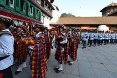 Nepali people celebrating the Dashain festival Stock Image