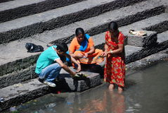 Nepali people in Pasupatinath temple Royalty Free Stock Images