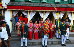 Nepali Royal Ladies in Kathmandu. KATHMANDU - OCT 11: People of the Nepalese high society, the Royal ladies, gathered in the Royal Palace to celebrate the first Stock Images