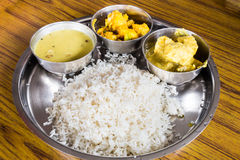 Nepali Thali meal set with curry chicken Royalty Free Stock Photos