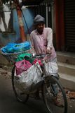 Nepali Vegetables sellers Push Bicycle That Carry Many Fruits Ac. Ross Crowded Thamel Street Editorial Stock Photo