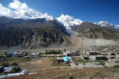 The Nepali village of Manang Stock Images