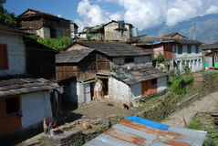 Nepali village in the mountains Stock Image