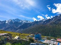 Nepali Village and Mt, Langtang stock photos