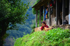Nepali woman in the Annapurna mountains Royalty Free Stock Photos