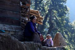Nepali woman with her child near the house. Everest region, Hima Stock Image