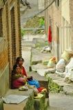 Nepali women in Kirtipur, Nepal. royalty free stock photo