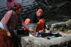 Nepali women in a small village Stock Photos