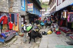 Nepalse village. Main street in the nepalse village Namche Bazar. Khumbu valley district, Himalaya Stock Photos
