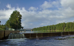Nepean River Weir. The Nepean River weir near Penrith  with the Victoria bridge in the background Stock Photography
