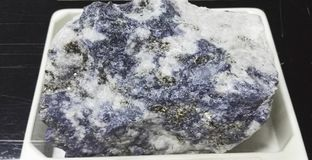 Nepheline sodalite syenite intrusive igneous rocks. Intrusive igneous rocks. Geological collection in Colombia for geologists. Study of soils, minerals and rocks Royalty Free Stock Images