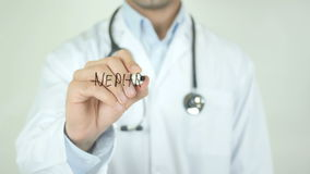 Nephrologist, Doctor Writing on Transparent Screen. Man writing stock footage