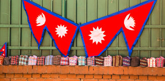 Neplease Flags and Caps in Thamel Royalty Free Stock Photography