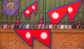 Neplease Flags and Caps in Thamel Royalty Free Stock Photos