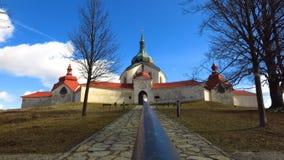 Nepomuk的圣约翰朝圣教会在Zdar nad Sazavou,捷克 免版税图库摄影