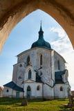 Nepomuk的圣约翰香客教会在Zelena Hora绿色山的在Zdar nad Sazavou,捷克,联合国科教文组织附近 库存图片