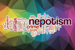 Nepotism word cloud with abstract background Royalty Free Stock Images