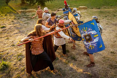 NEPTUN, ΡΟΥΜΑΝΊΑ - 28 Ιουλίου 2015 - αρχαίο φεστιβάλ - αναπαράσταση Στοκ Εικόνες
